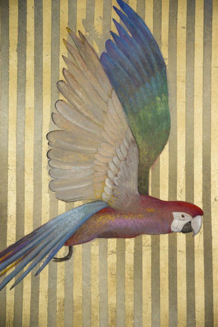 toile peinte perroquet multicolore