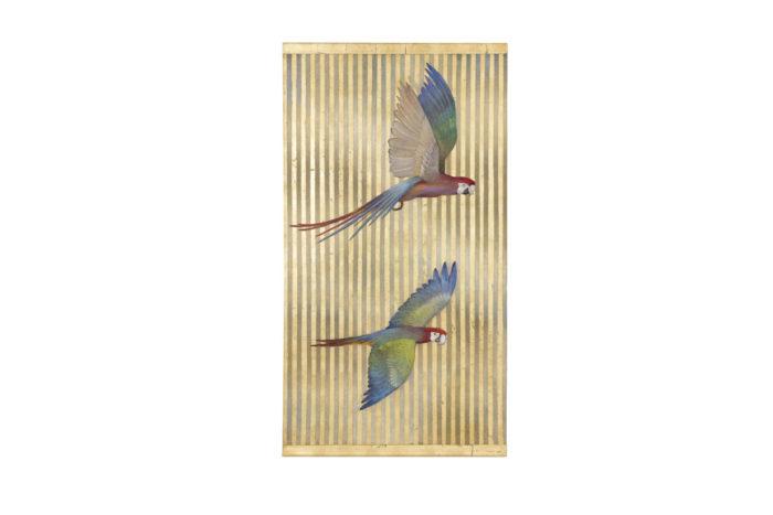 toile peinte perroquets rayures