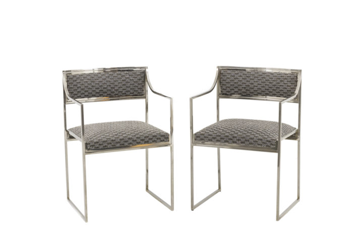 willy rizzo armchairs chromed metal