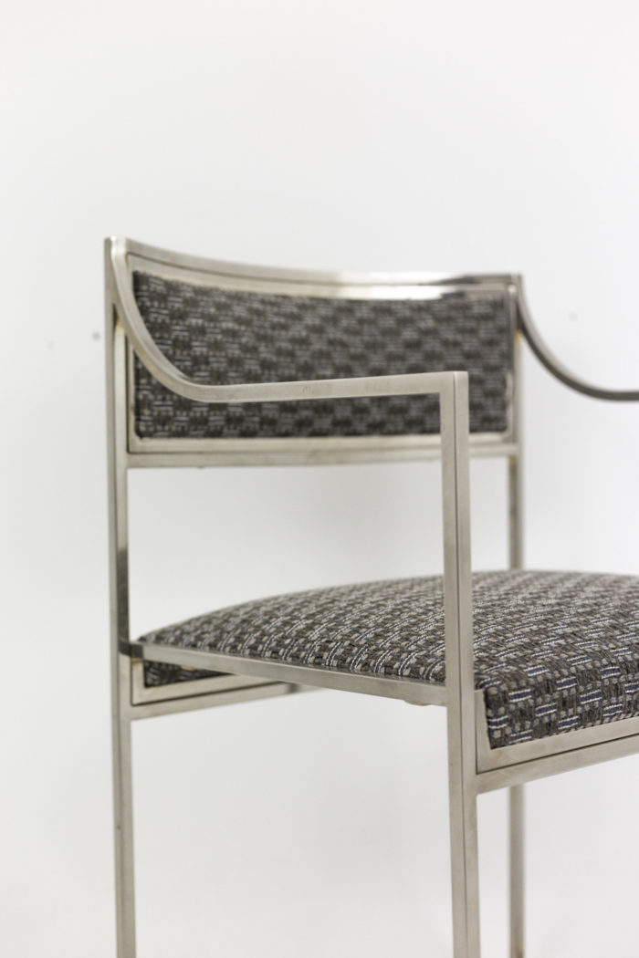 willy rizzo armchairs chromed metal arm