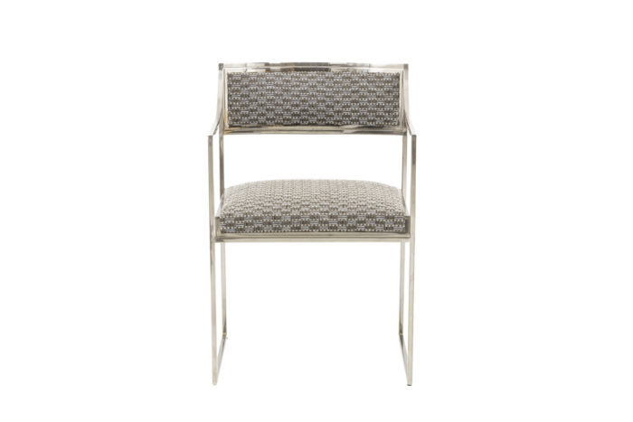 willy rizzo armchairs chromed metal face