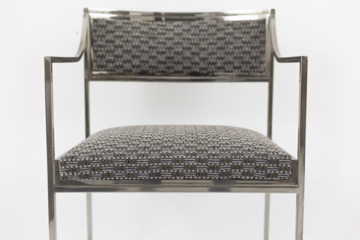 willy rizzo armchairs chromed metal seat face