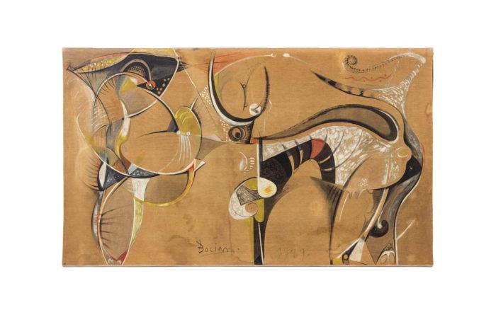 bocian abstract composition mixed technique