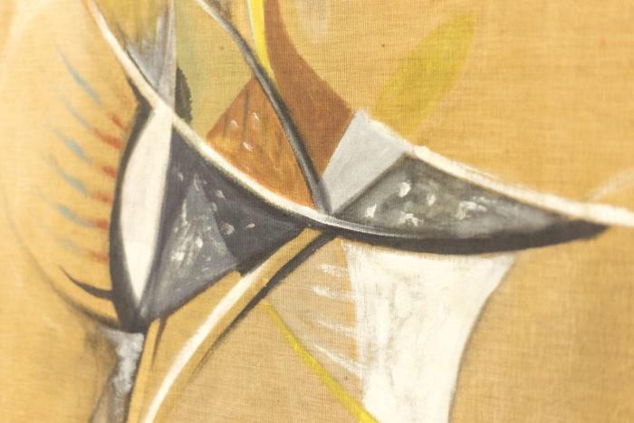 bocian composition abstraite technique mixte noir blanc