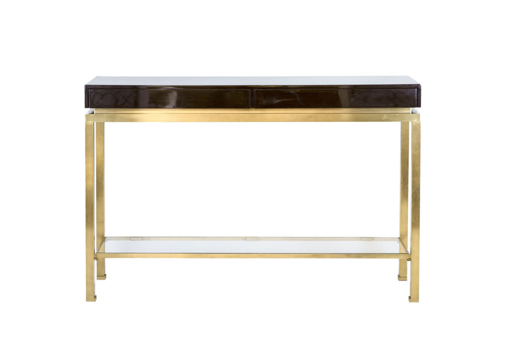 Guy Lefèvre for Maison Jansen, Lacquer and brass console, 1970's