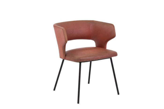 fauteuil skai orange métal laqué noir 1950's