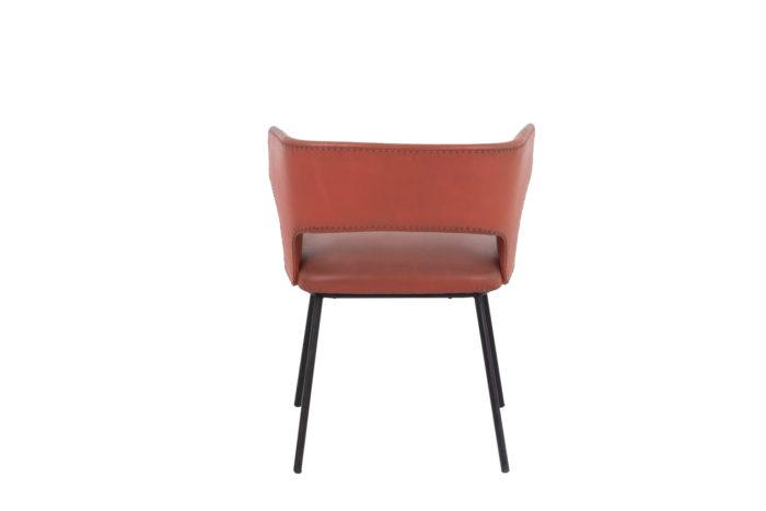 fauteuil skai orange métal laqué noir 1950's back