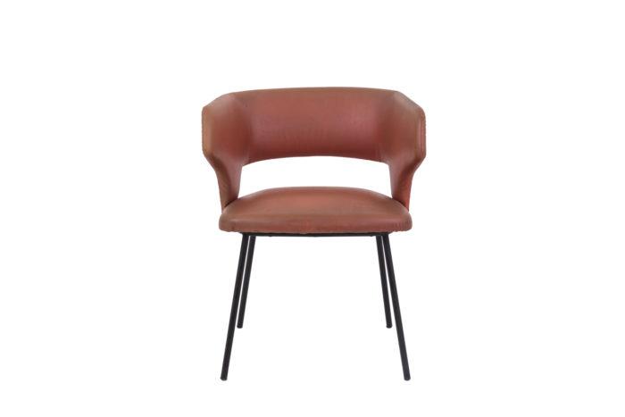 fauteuil skai orange métal laqué noir 1950's face