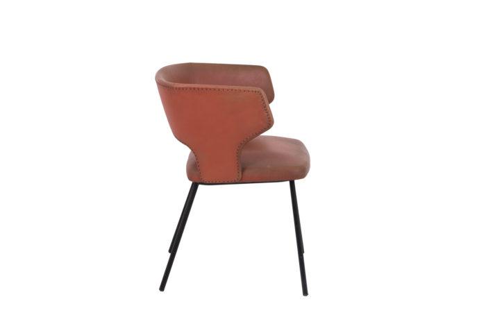 fauteuil skai orange métal laqué noir 1950's side 2