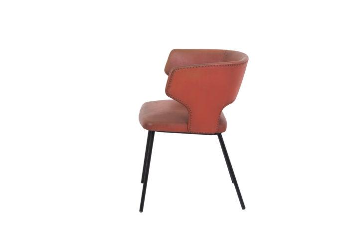 fauteuil skai orange métal laqué noir 1950's side