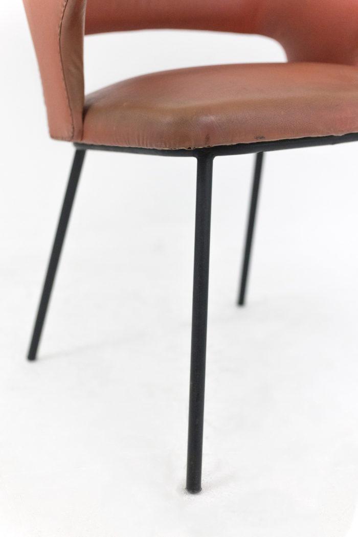 fauteuil skai orange métal laqué noir