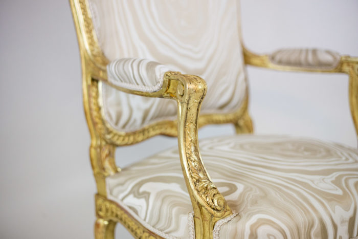 transition style armchairs gilt wood arm