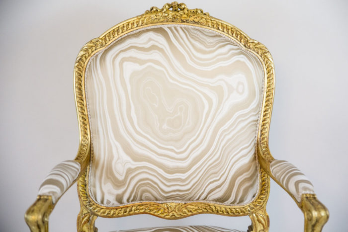 transition style armchairs gilt wood back