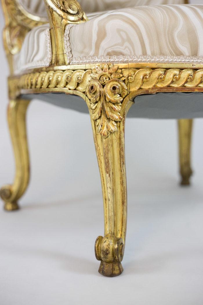 transition style armchairs gilt wood cabriole leg