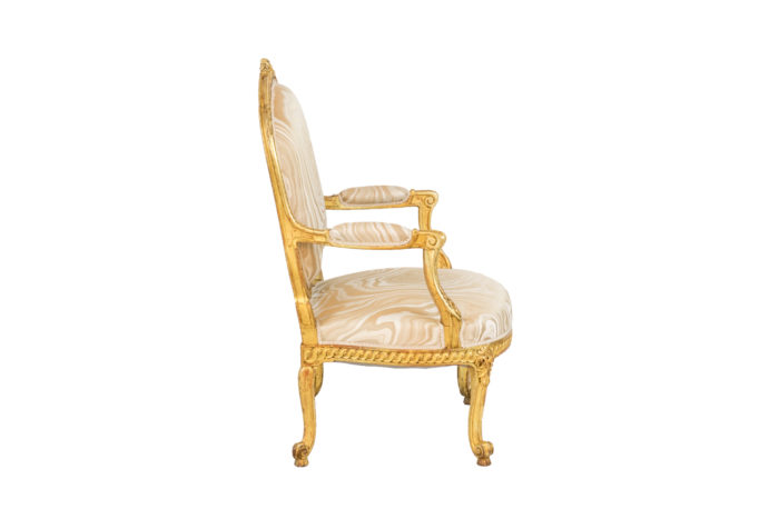 transition style armchairs gilt wood side