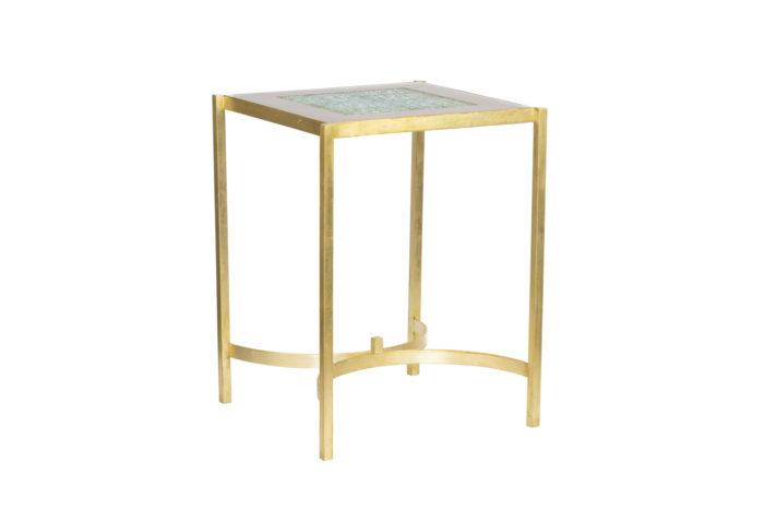 pedestal table earthenware gilt brass 1970's
