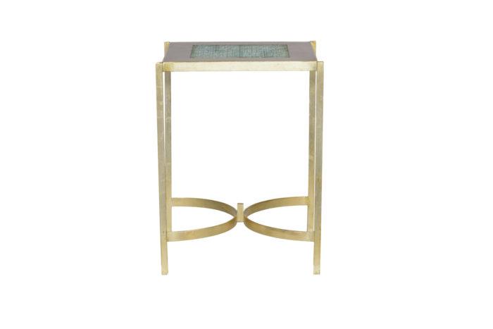 pedestal table earthenware gilt brass 1970's side 2