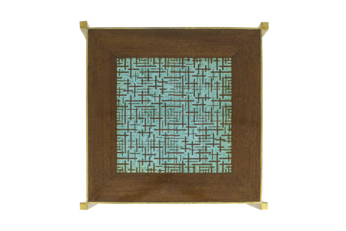 pedestal table earthenware tray turquoise brown