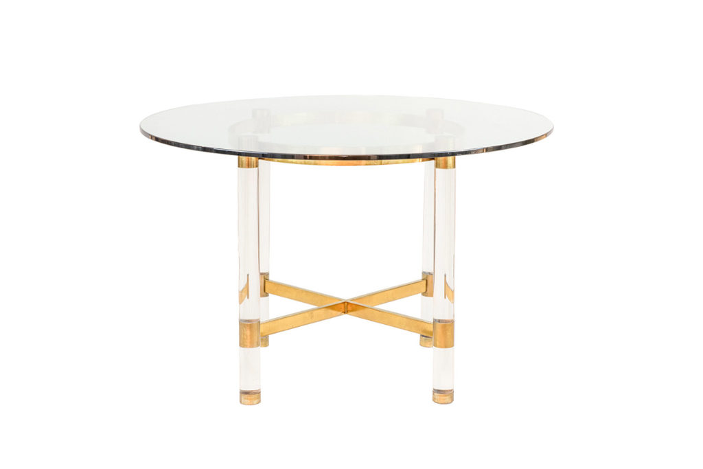 Sandro Petti, Table in lucite and gilt brass, 1970's