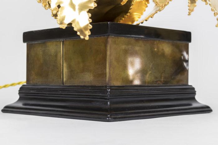 lampe tournesols base bois noir bronze