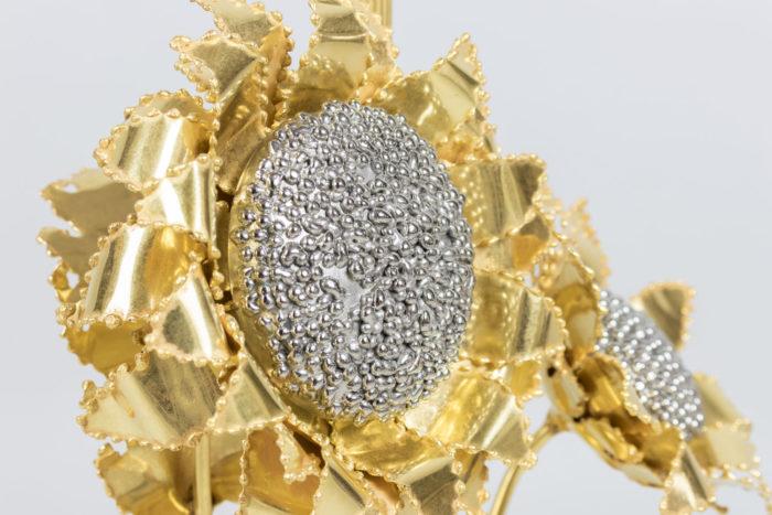 lampe tournesols fleurs laiton doré bronze argenté