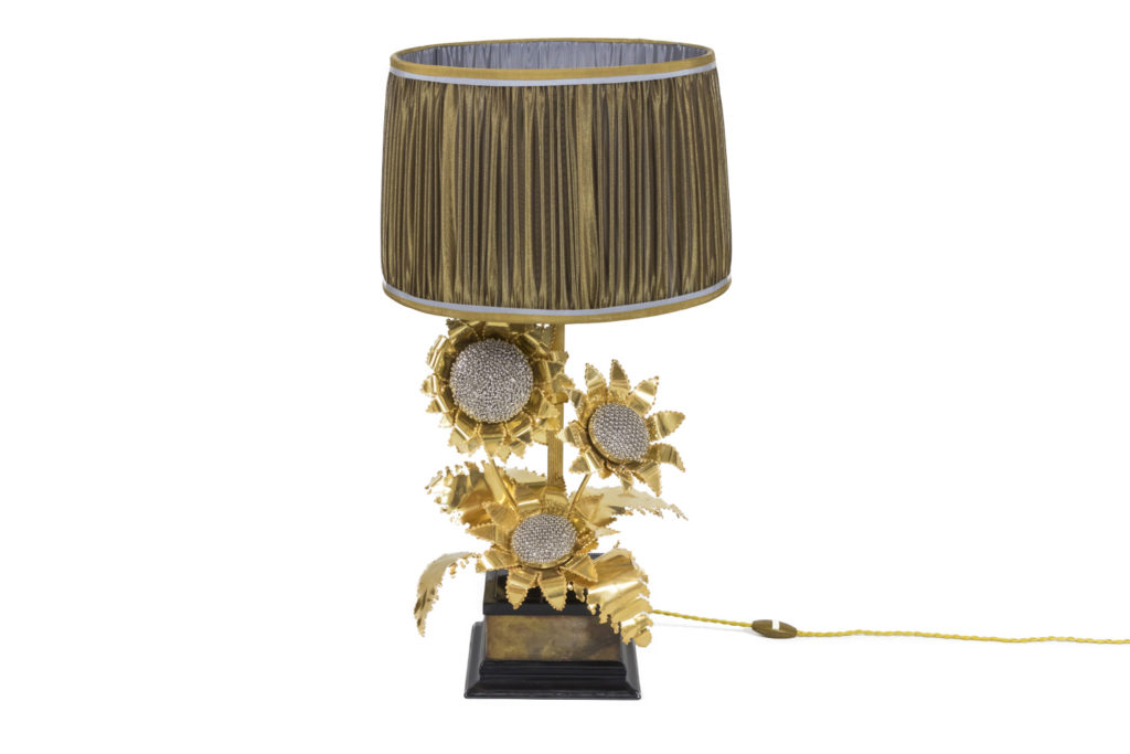 Sunflowers lamp in gilt and silvered brass, 1960's