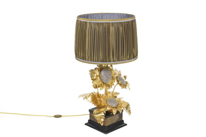 lampe tournesols laiton doré argenté angle