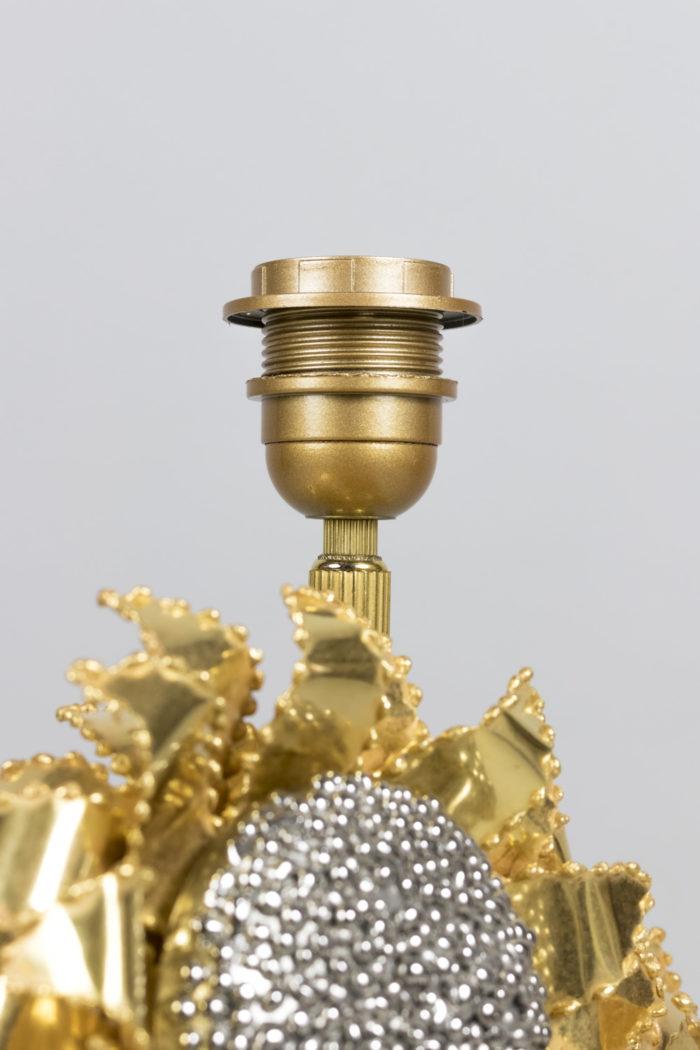 lampe tournesols laiton doré argenté haut