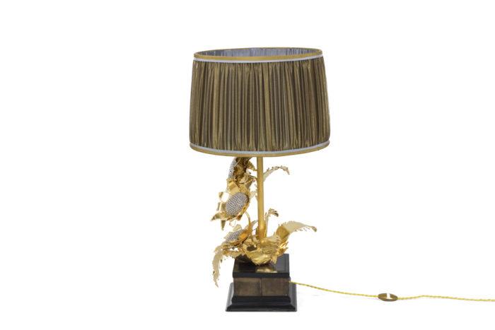 lampe tournesols laiton doré argenté side 2