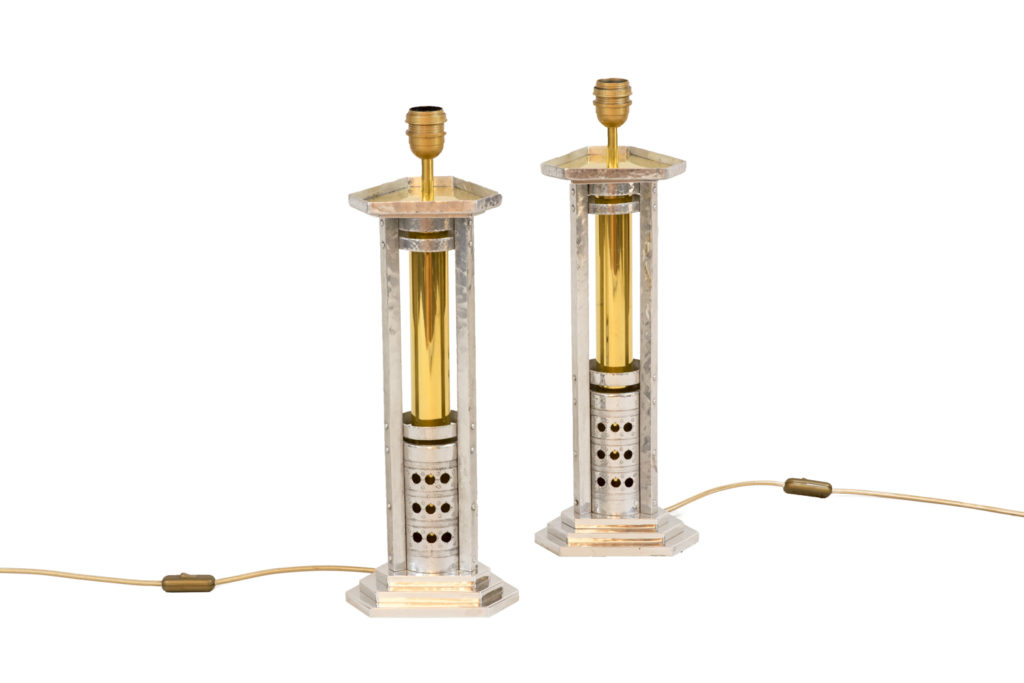 Pair of lamps in silvered cast aluminium and gilt bronze, 1970's