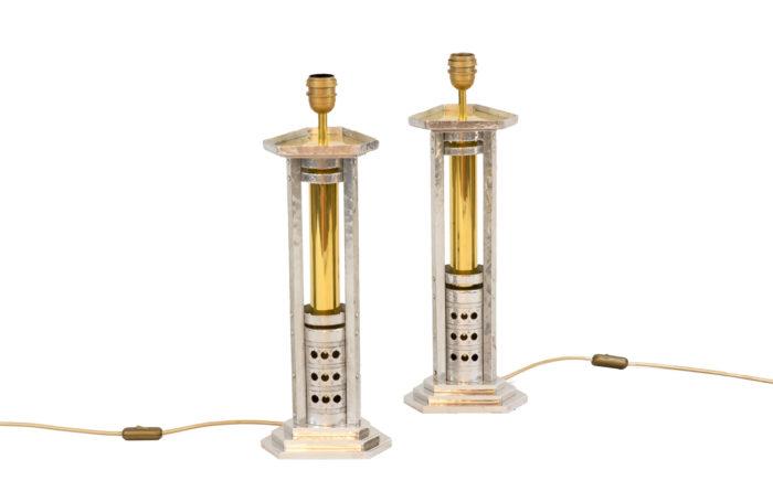 lampes aluminium argenté bronze doré 1970's
