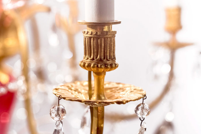 lustre italien verre bronze doré