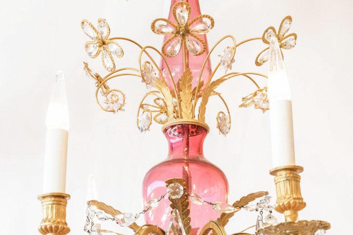 lustre italien verre rose fleurs