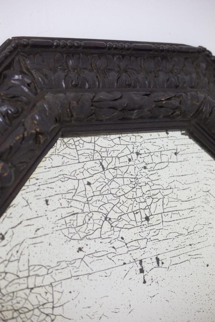 miroir octogonal bois miroir oxydé