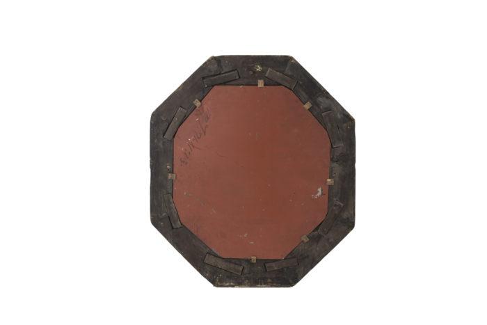 miroir octogonal bois noirci dos rouge