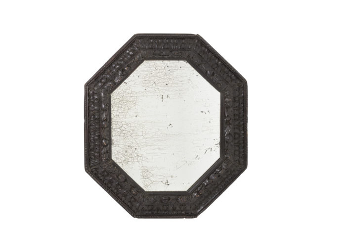 octagonal mirror blackened wood oxidized mirror
