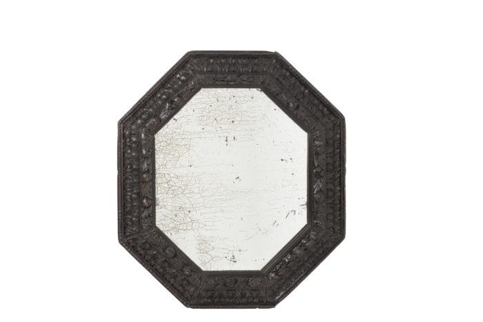 miroir octogonal bois noirci miroir oxydé