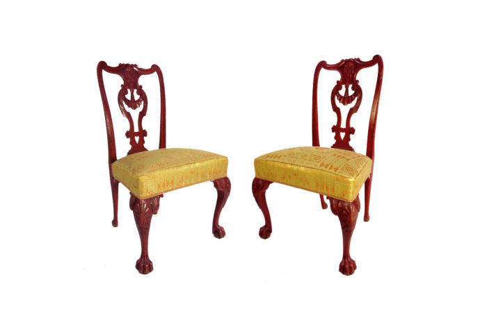 pair chippendale chairs red lacquer main