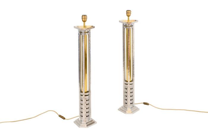 paire grandes lampes fonte aluminium bronze doré pcpl
