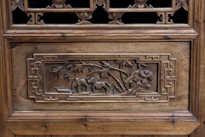 portes style chinoisant paysage chevaux