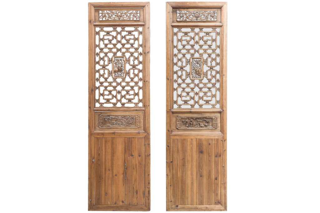 Pair of Chinese style fir doors, 19th century