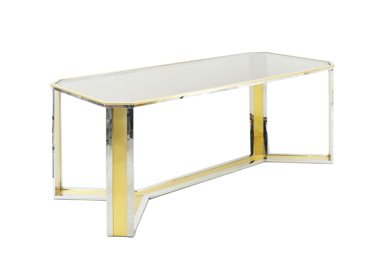 table laiton doré argenté verre fumé romeo rega style angle