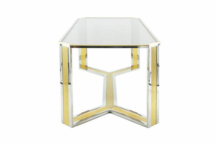 table laiton doré argenté verre fumé romeo rega style side