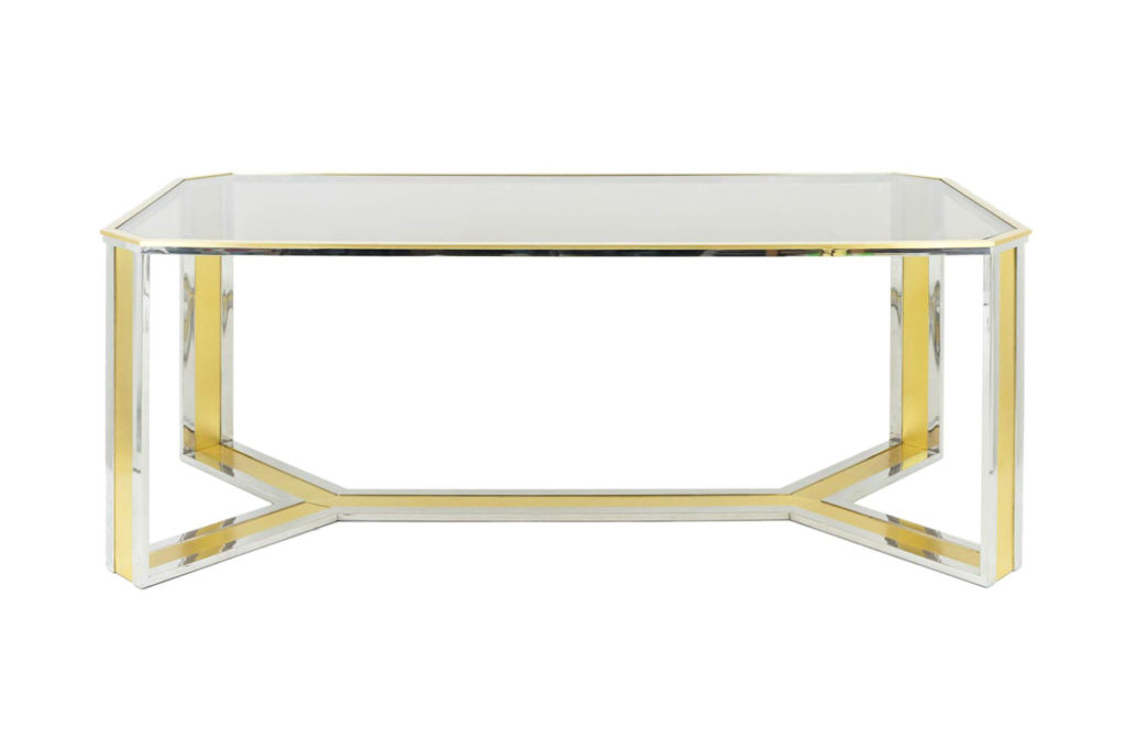 Romeo Rega, Table in chromed and gilt brass, smoked glass, 1970's