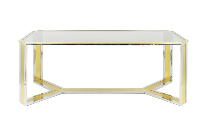 table gilt silvered brass smoked glass romeo rega style