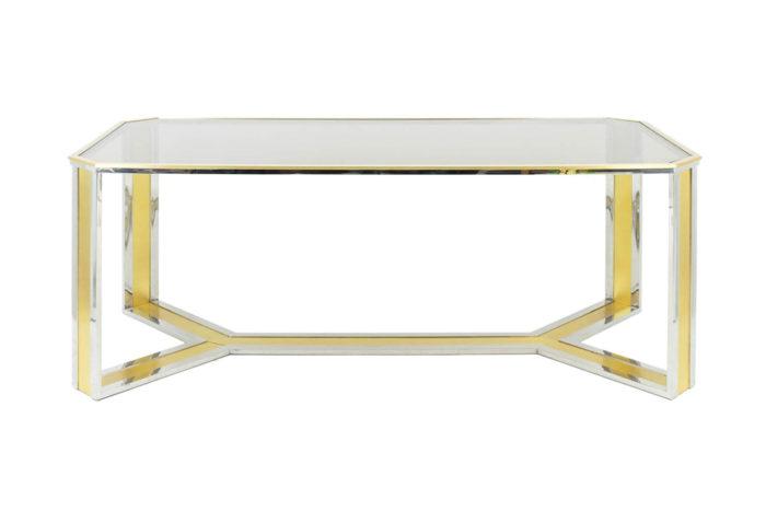 table-laiton-doré-argenté-verre-fumé-romeo-rega-style