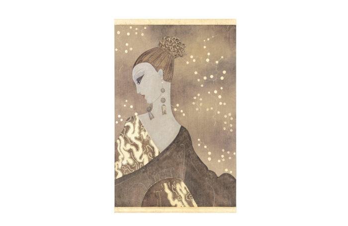 toile peinte femme art déco