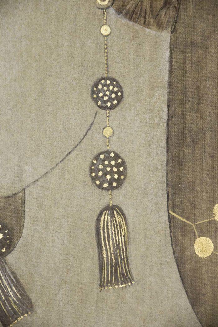 toile peinte femme art déco boucles d'oreilles