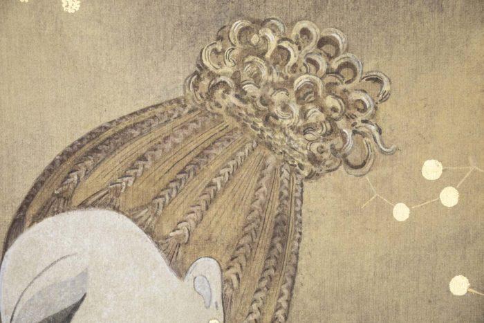 toile peinte femme art déco cheveux
