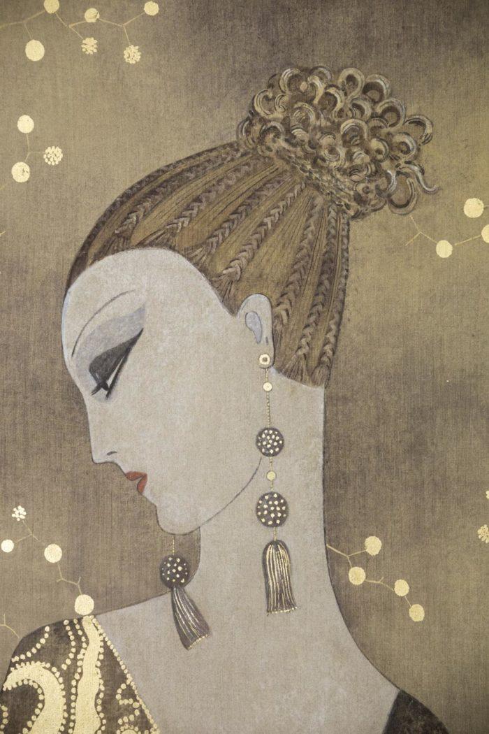 toile peinte femme art déco profil